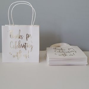 12 White Thanks for Celebrating With Us Party Bags